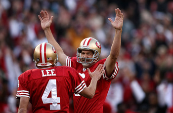 SAN FRANCISCO - DECEMBER 28:  Kicker Joe Nedney #6 of the San Francisco 49ers celebrates with Andy Lee #4 after kicking the game winning feild goal as time expired to defeat the Washington Redskins 27-24 at Candlestick Park on December 28, 2008 in San Fra