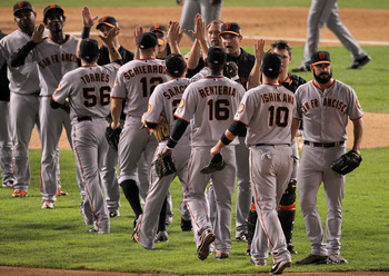 ARLINGTON, TX - OCTOBER 31:  The San Francisco Giants celebrate their 4-0 victory over the Texas Rangers in Game Four of the 2010 MLB World Series at Rangers Ballpark in Arlington on October 31, 2010 in Arlington, Texas.  (Photo by Doug Pensinger/Getty Im