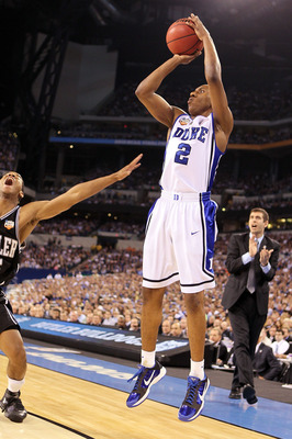 INDIANAPOLIS - APRIL 05:  Nolan Smith #2 of the Duke Blue Devils shoots a three-pointer in the first half against the Butler Bulldogs during the 2010 NCAA Division I Men's Basketball National Championship game at Lucas Oil Stadium on April 5, 2010 in Indi