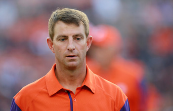 AUBURN, AL - SEPTEMBER 18:  Head coach Dabo Swinney of the Clemson Tigers against the Auburn Tigers at Jordan-Hare Stadium on September 18, 2010 in Auburn, Alabama.  (Photo by Kevin C. Cox/Getty Images)