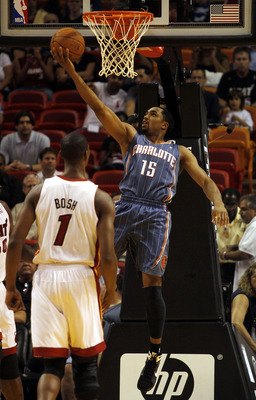 MIAMI - OCTOBER 18: Guard Gerald Henderson #15 of the Charlotte Bobcatsscores against the Miami Heat on October 18, 2010 at American Airlines Arena in Miami, Florida. NOTE TO USER: User expressly acknowledges and agrees that, by downloading and/or using t