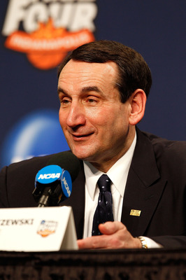 INDIANAPOLIS - APRIL 05:  Head coach Mike Krzyzewski of the Duke Blue Devils speaks during the post game press conference after Duke won 61-59 against the Butler Bulldogs during the 2010 NCAA Division I Men's Basketball National Championship game at Lucas