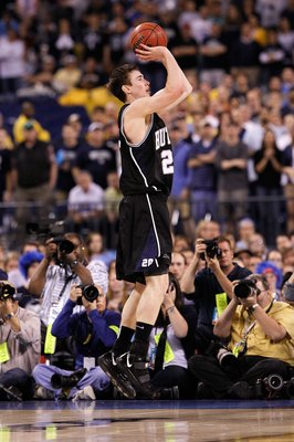 INDIANAPOLIS - APRIL 05:  Gordon Hayward #20 of the Butler Bulldogs attempts a shot in the second half  against the Duke Blue Devils during the 2010 NCAA Division I Men's Basketball National Championship game at Lucas Oil Stadium on April 5, 2010 in India