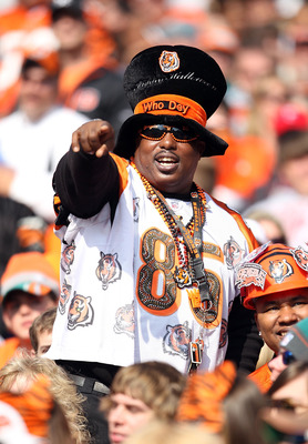 CINCINNATI - OCTOBER 31:  A Cincinnati Bengals fan is dressed for halloween during the NFL game against the Miami Dolphins at Paul Brown Stadium on October 31, 2010 in Cincinnati, Ohio.  (Photo by Andy Lyons/Getty Images)