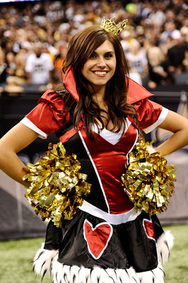 NEW ORLEANS - OCTOBER 31:  A New Orleans Saints cheerleader appears in costume during the game against the Pittsburgh Steelers at Louisiana Superdome on October 31, 2010 in New Orleans, Louisiana. The Saints won 20-10 over the Steelers.  (Photo by Karl Wa
