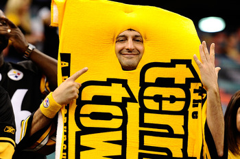 NEW ORLEANS - OCTOBER 31:  A fan dressed as the Terrible Towel is seen before the Pittsburgh Steelers versus New Orleans Saints game at Louisiana Superdome on October 31, 2010 in New Orleans, Louisiana.  The Saints won 20-10 over the Steelers.  (Photo by