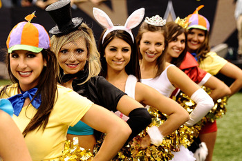 NEW ORLEANS - OCTOBER 31:  New Orleans Saints cheerleaders dress in costume during the game against the Pittsburgh Steelers at Louisiana Superdome on October 31, 2010 in New Orleans, Louisiana.  The Saints won 20-10 over the Steelers.  (Photo by Karl Walt