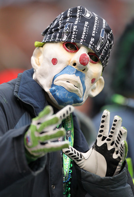 SEATTLE - OCTOBER 24:  A fan of the Seattle Seahawks looks on during the game against the Arizona Cardinals at Qwest Field on October 24, 2010 in Seattle, Washington. (Photo by Otto Greule Jr/Getty Images)