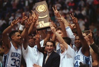 APR 1992:  COACHES AND TEAM MEMBERS OF THE 1992 DUKE UNIVERSITY BASKETBALL TEAM CELEBRATE THEIR NCAA NATIONAL CHAMPIONSHIP IN MINNEAPOLIS, MINNESOTA. Mandatory Credit: Jonathan Daniel/ALLSPORT