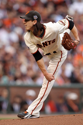 SAN FRANCISCO - OCTOBER 27:  Tim Lincecum #55 of the San Francisco Giants pitches against the Texas Rangers in Game One of the 2010 MLB World Series at AT&T Park on October 27, 2010 in San Francisco, California.  (Photo by Jed Jacobsohn/Getty Images)