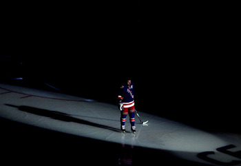 NEW YORK - OCTOBER 15:  Chris Drury #23 of the New York Rangers is introduced against the Toronto Maple Leafs during their game on October 15, 2010 at Madison Square Garden in New York City.  (Photo by Al Bello/Getty Images)