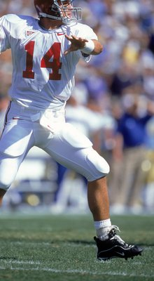 2 Sep 2000:  Quarterback Tyler Watts #14 of the Alabama Crimson Tide looks to pass the ball during the game against the UCLA Bruins at the Rose Bowl in Pasadena, California. The Bruins defeated the Crimson Tide 24-35.Mandatory Credit: Jon Ferrey  /Allspor