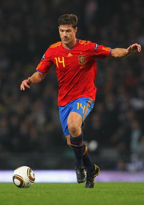 GLASGOW, SCOTLAND - OCTOBER 12: Xabier Alonso of Spain during the UEFA EURO 2012 Group I qualifying match between Scotland and Spain at Hampden Park on October 12, 2010 in Glasgow, Scotland.  (Photo by Clive Rose/Getty Images)