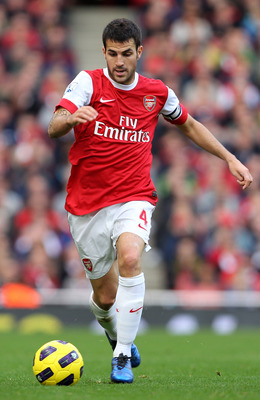 LONDON, ENGLAND - OCTOBER 30:  Cesc Fabregas of Arsenal in action during the Barclays Premier League match between Arsenal and West Ham United at Emirates Stadium on October 30, 2010 in London, England.  (Photo by Clive Rose/Getty Images)