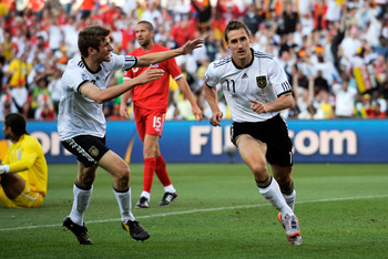 BLOEMFONTEIN, SOUTH AFRICA - JUNE 27:  Miroslav Klose of Germany celebrates scoring the opening goal during the 2010 FIFA World Cup South Africa Round of Sixteen match between Germany and England at Free State Stadium on June 27, 2010 in Bloemfontein, Sou