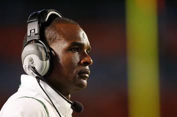 FORT LAUDERDALE, FL - SEPTEMBER 17: Head coach Randy Shannon of the Miami Hurricanes watches his team take on the Georgia Tech Yellow Jackets at Land Shark Stadium on September 17, 2009 in Fort Lauderdale, Florida. Miami defeated Georgia Tech 33-17.  (Pho