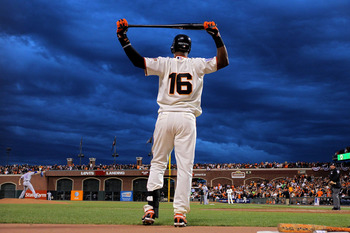 SAN FRANCISCO - OCTOBER 28:  Edgar Renteria #16 of the San Francisco Giants waits on deck in the fifth inning against the Texas Rangers in Game Two of the 2010 MLB World Series at AT&T Park on October 28, 2010 in San Francisco, California.  (Photo by Doug