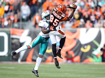 CINCINNATI - OCTOBER 31: Vontae Davis #21 of the Miami Dolphins defends Chad Ochocinco #85 of the Cincinnati Bengals as he catches a pass during the NFL game at Paul Brown Stadium on October 31, 2010 in Cincinnati, Ohio.  (Photo by Andy Lyons/Getty Images