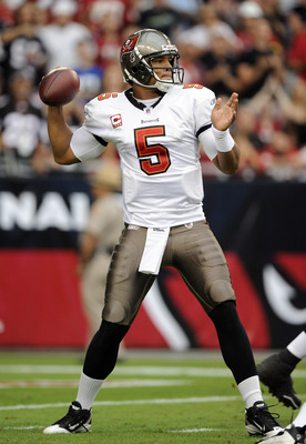 GLENDALE, AZ - OCTOBER 31:  Josh Freeman #5 of the Tampa Bay Buccaneers passes in the pocket against the Arizona Cardinals during the first quarter at University of Phoenix Stadium on October 31, 2010 in Glendale, Arizona.  (Photo by Harry How/Getty Image