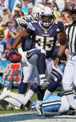 SAN DIEGO - OCTOBER 31:  Running back Mike Tolbert #35 of the San Diego Chargers celebrates a touchdown against the Tennessee Titans in the first quarter at Qualcomm Stadium on October 31, 2010 in San Diego, California. The Chargers defeated the Titans 33