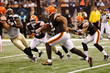 NEW ORLEANS - OCTOBER 24:  Punter Reggie Hodges #2 of the Cleveland Browns runs for 68 yards on a fake punt during the game against the New Orleans Saints at the Louisiana Superdome on October 24, 2010 in New Orleans, Louisiana.  (Photo by Chris Graythen/
