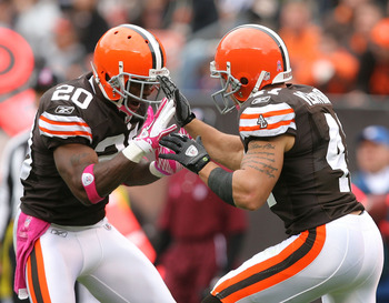 CLEVELAND - OCTOBER 03:  Defensive back Mike Adams #20 and Ray Ventrone #41 of the Cleveland Browns celebrate after a play against the Cincinnati Bengals at Cleveland Browns Stadium on October 3, 2010 in Cleveland, Ohio.  (Photo by Matt Sullivan/Getty Ima