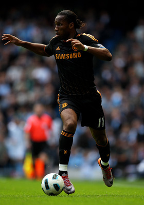 MANCHESTER, ENGLAND - SEPTEMBER 25:   Didier Drogba of Chelsea in action during the Barclays Premier League match between Manchester City and Chelsea at the City of Manchester Stadium on September 25, 2010 in Manchester, England.  (Photo by Alex Livesey/G