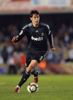 JEREZ DE LA FRONTERA, SPAIN - FEBRUARY 13: Kaka  of Real Madrid in action during the La Liga match between Xerez CD and Real Madrid at Estadio Municipal de Chapin on February 13, 2010 in Jerez de la Frontera, Spain.  (Photo by Denis Doyle/Getty Images)