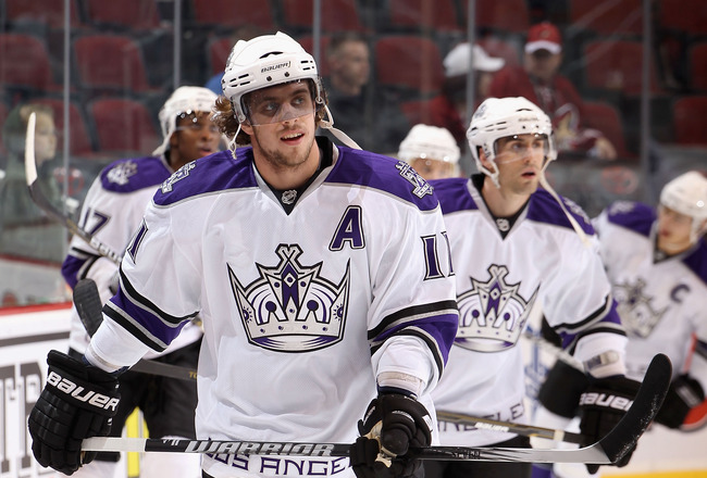 GLENDALE, AZ - OCTOBER 21:  Anze Kopitar #11 of the Los Angeles Kings warms up before the NHL game against the Phoenix Coyotes at Jobing.com Arena on October 21, 2010 in Glendale, Arizona. The Coyotes defeated the Kings 4-2.  (Photo by Christian Petersen/
