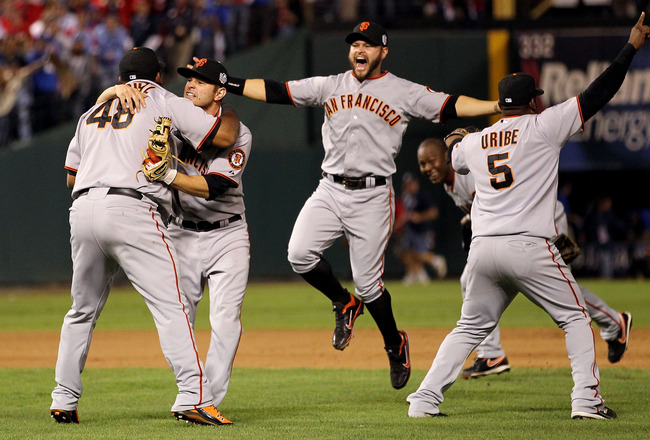 ARLINGTON, TX - NOVEMBER 01:  (L-R) Pablo Sandoval #48, Freddy Sanchez #21, Cody Ross #13, Edgar Renteria #16 and Juan Uribe #5 of the San Francisco Giants celebrate after they won 3-1 against the Texas Rangers in Game Five of the 2010 MLB World Series at