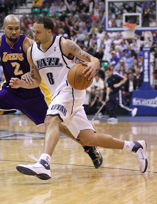 SALT LAKE CITY - MAY 10:  Deron Williams #8 of the Utah Jazz in action against the Los Angeles Lakers during Game Four of the Western Conference Semifinals of the 2010 NBA Playoffs on May 10, 2010 at Energy Solutions Arena in Salt Lake City, Utah. NOTE TO
