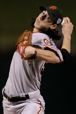 ARLINGTON, TX - NOVEMBER 01:  Starting pitcher Tim Lincecum #55 of the San Francisco Giants pitches against the Texas Rangers in Game Five of the 2010 MLB World Series at Rangers Ballpark in Arlington on November 1, 2010 in Arlington, Texas.  (Photo by Do
