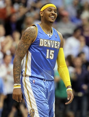 SALT LAKE CITY - APRIL 25:  Carmelo Anthony #15 of the Denver Nuggets is pictured after being called for a foul against the Utah Jazz during  Game Four of the Western Conference Quarterfinals of the 2010 NBA Playoffs at EnergySolutions Arena on April 25,