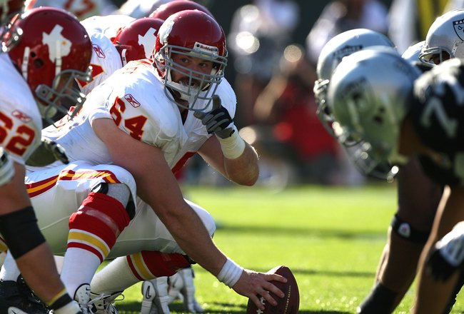 OAKLAND, CA - NOVEMBER 15:  Rudy Niswanger #64 of the Kansas City Chiefs prepares to snap the ball against the Oakland Raiders during an NFL game  at Oakland-Alameda County Coliseum on November 15, 2009 in Oakland, California.  (Photo by Jed Jacobsohn/Get