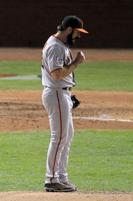 ARLINGTON, TX - OCTOBER 31:  Pitcher Brian Wilson #38 of the San Francisco Giants reacts during the bottom on the ninth inning against the Texas Rangers against the San Francisco Giants in Game Four of the 2010 MLB World Series at Rangers Ballpark in Arli