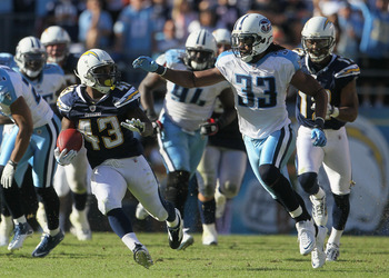 SAN DIEGO - OCTOBER 31:  Running back Darren Sproles #43 of the San Diego Chargers is pursued by Michael Griffin #33 of the Tennessee Titans in the third quarter at Qualcomm Stadium on October 31, 2010 in San Diego, California. The Chargers defeated the T