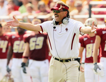 CHESTNUT HILL, MA - SEPTEMBER 25:  Head coach Frank Spaziani of the Boston College Eagles reacts after Dave Shinskie is hit after the whistle in the final minutes of the first half against the Virginia Tech Hokies on September 25, 2010 at Alumni Stadium i