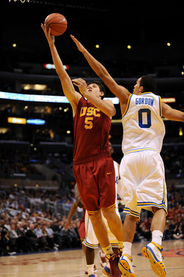 LOS ANGELES, CA - MARCH 13:  Nikola Vucevic #5 of the USC Trojans goes for a layup against the UCLA Bruins in the Pacific Life Pac-10 Men's Basketball Tournament at the Staples Center on March 13, 2009 in Los Angeles, California.  (Photo by Harry How/Gett