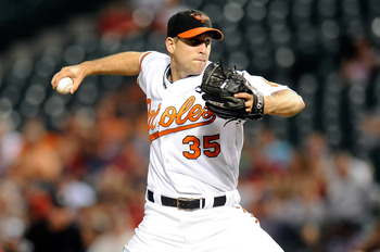 BALTIMORE - SEPTEMBER 02:  Brad Bergesen #35 of the Baltimore Orioles pitches against the Boston Red Sox at Camden Yards on September 2, 2010 in Baltimore, Maryland.  (Photo by Greg Fiume/Getty Images)