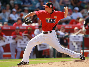 ANAHEIM, CA - JULY 11:  U.S. Futures All-Star Zach Britton #12 of the Baltimore Orioles throws a pitch during the 2010 XM All-Star Futures Game at Angel Stadium of Anaheim on July 11, 2010 in Anaheim, California.  (Photo by Jeff Gross/Getty Images)