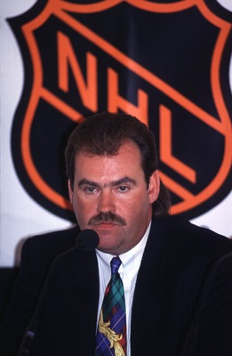 9 Dec 1993:  Head coach Pat Burns of the Toronto Maple Leafs adresses the press at a press conference following the Maple Leafs game against the New York Rangers in Toronto, Canada.   Mandatory Credit: Otto Greule/ALLSPORT