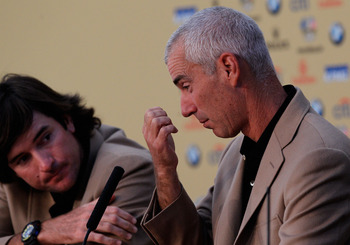 NEWPORT, WALES - OCTOBER 04: Team USA captain Corey Pavin (R) and Bubba Watson attend a press conference after the 2010 Ryder Cup at the Celtic Manor Resort on October 4, 2010 in Newport, Wales. (Photo by Sam Greenwood/Getty Images)