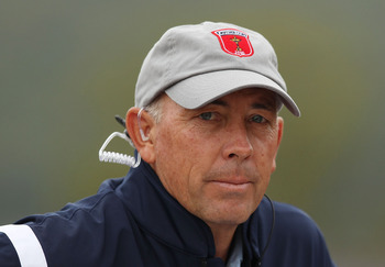 NEWPORT, WALES - OCTOBER 01:  USA Vice Captain Tom Lehman looks on during the Morning Fourball Matches during the 2010 Ryder Cup at the Celtic Manor Resort on October 1, 2010 in Newport, Wales. (Photo by Ross Kinnaird/Getty Images)