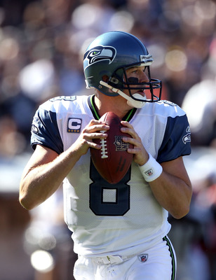 OAKLAND, CA - OCTOBER 31:  Matt Hasselbeck #8 of the Seattle Seahawks drops back to pass against the Oakland Raiders at Oakland-Alameda County Coliseum on October 31, 2010 in Oakland, California.  (Photo by Ezra Shaw/Getty Images)