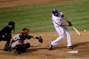 ARLINGTON, TX - NOVEMBER 01:  Nelson Cruz #17 of the Texas Rangers hits a solo home in the seventh inning against Tim Lincecum #55 of the San Francisco Giants in Game Five of the 2010 MLB World Series at Rangers Ballpark in Arlington on November 1, 2010 i