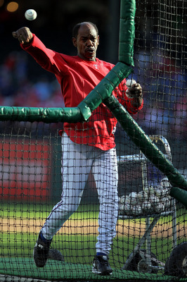 ARLINGTON, TX - NOVEMBER 01:  Manager Ron Washington of the Texas Rangers pitches batting practice to his players prior to playing against the San Francisco Giants in Game Five of the 2010 MLB World Series at Rangers Ballpark in Arlington on November 1, 2