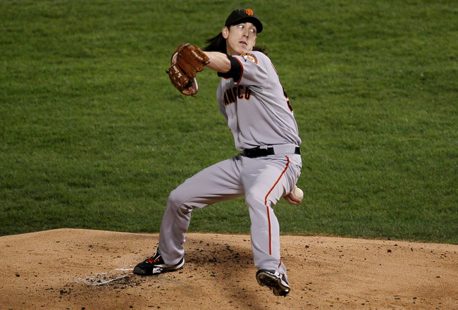 ARLINGTON, TX - NOVEMBER 01:  Starting pitcher Tim Lincecum #55 of the San Francisco Giants pitches against the Texas Rangers in Game Five of the 2010 MLB World Series at Rangers Ballpark in Arlington on November 1, 2010 in Arlington, Texas.  (Photo by St