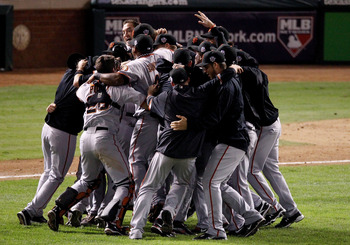 ARLINGTON, TX - NOVEMBER 01:  The San Francisco Giants celebrate defeating the Texas Rangers 3-1 to win the 2010 MLB World Series at Rangers Ballpark in Arlington on November 1, 2010 in Arlington, Texas.  (Photo by Christian Petersen/Getty Images)