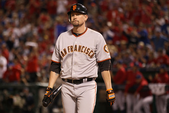 ARLINGTON, TX - OCTOBER 31:  Aubrey Huff #17 of the San Francisco Giants reacts to striking out to end the fifth inning of Game Four of the 2010 MLB World Series against the Texas Rangers at Rangers Ballpark in Arlington on October 31, 2010 in Arlington,