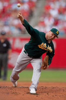 ST. LOUIS - JUNE 19: Starting pitcher Ben Sheets #15 of the Oakland Athletics throws home against the St. Louis Cardinals at Busch Stadium on June 19, 2010 in St. Louis, Missouri.  (Photo by Dilip Vishwanat/Getty Images)